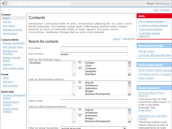 Arup contacts and events database