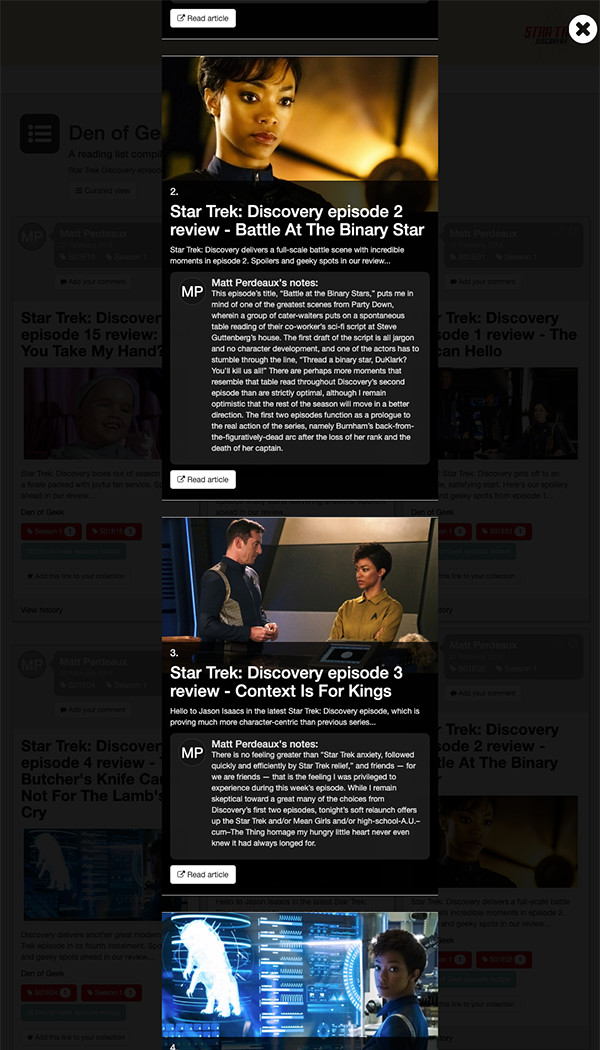 Reading list curated view