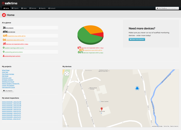 The web portal dashboard shows an overview of all live devices