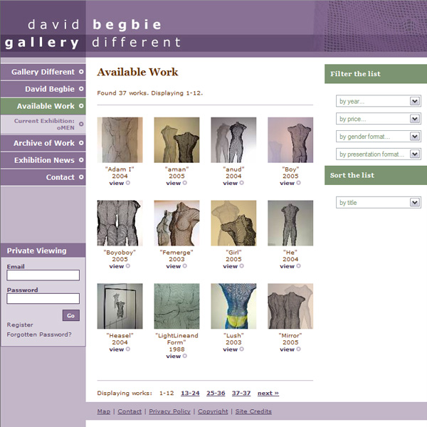 Bespoke gallery website