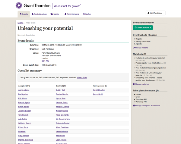Grant Thornton Events Management System