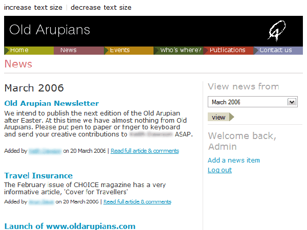 Old Arupians community website (2006)